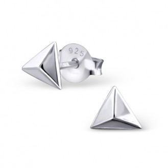 "Stříbrné náušnice pecky ""Stříbrné pyramidy"". Ag 925/1000"